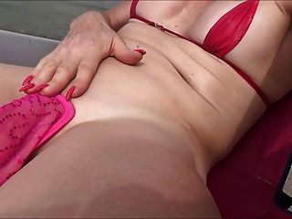 Sissy Slut  In The Beach With C String And Rosebud