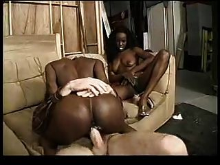 Ebony Twins With A Lucky White Guy