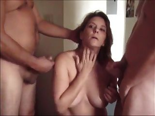 Nice Milf Jerks Of Husband And Friends