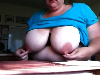 Spanish Bbw Pinches Her Huge Long Pink Nipples