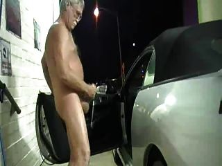 Exhibitionist Grandpa Jerk At Carwash