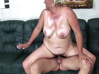 Blonde 50+ Bbw Pleases Young Man On The Sofa
