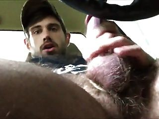 Str8 Muscle With Big Blue Eyes Precum In Car 2