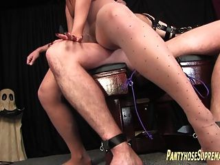 Femdom Pantyhose Tease And Torture Of Male Submissive