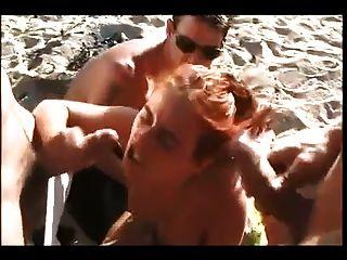 Nude Beach - Hot Redhead Dp Gangbang Cim Facials