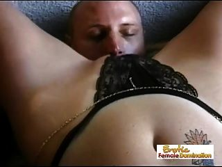 Submissive Guy Eats His Mistress Pussy