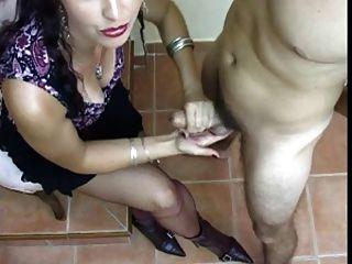 Hot Mistress Handjob With Cum On Heels