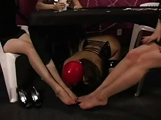 Slave Girl Worship Feet Under The Table