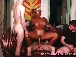 Gangbang Archive Tanned Euro Milf Gangbanged By 4 White Guys