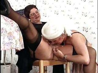German Grannies Engage Into Lesbian Sex At Kitcheb