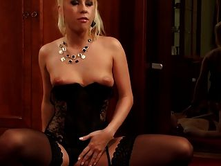 Beautiful Blonde Fucked In Sheer Black Nylon