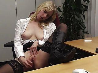 German Secretary Masturbates