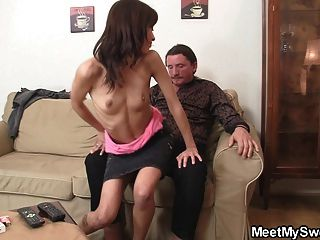 Hot Girl Seduces Old Not Dad Into Pussy Licking