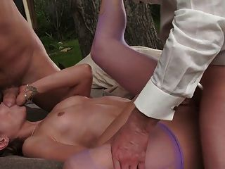 Energetic Babes Suck And Fuck Two Gentlemen Outside