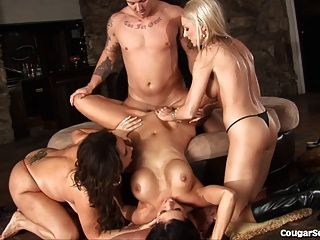 3 Busty Cougars Ride A Fat Cock