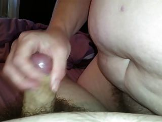 Wife Wanking My Uncut Cock,big Tits,hairy Pussy,cumshot