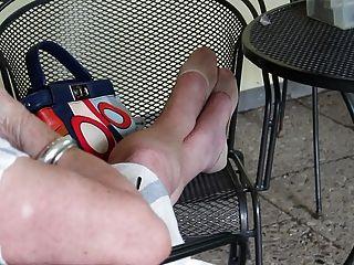 Granny Feet In Nylon Socks