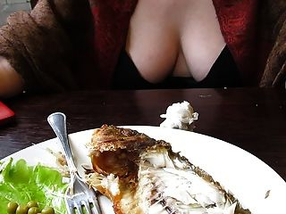 Braless Girl With A Deep Cleavage In Restaurant