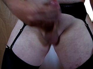 Cum Shot Wearing Stockings And Suspenders