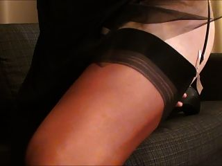 Cumming In Black Satin Dress