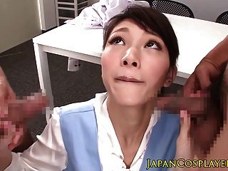 Japanese Uniform Babe Jerking And Sucking