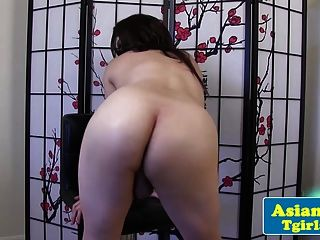 Chubby Asian Tgirl Amateur Posing And Tugging