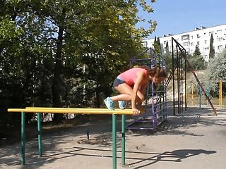 Hot Russian Babe Street Workout