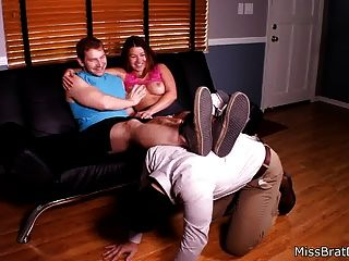 Cuckold Humiliated By Bull And Hotwife