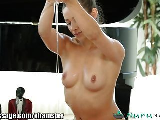 Nuru Cassidy Oils Up And Massages Older Guy