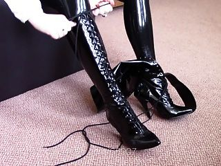 Lacing Up Vintage Fetish Boots Knee High