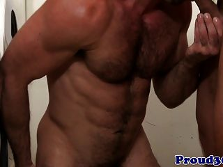 Muscular Gay Couple Fuck In The Washroom