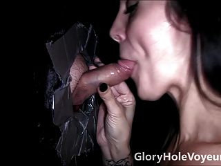 Tattooed Brunette Sucks Small Cock In Gloryhole
