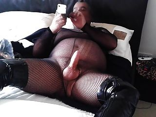 Pantyhose Encasement Fishnet And Kinky Fuck Boots