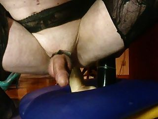 My Husband Riding Two Dildos (black And White)