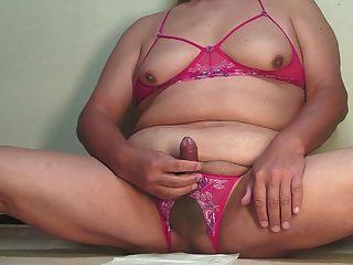 Jerkoff,edging & Cum In Erotic Lingerie Nov-17-2014
