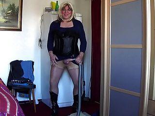 Property Mistress Jezz Vacuming Under Her Skirt
