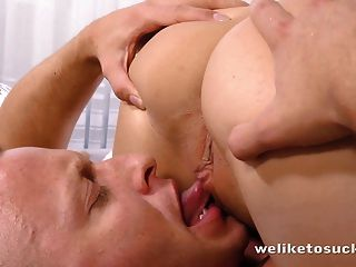 Blindfolded eurobabe sucking cock then gets fucked 7