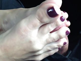 Hot Footjob In Car (close-up)