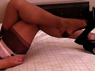 Pink Sheer Panties, Peep Toe Pumps Shoe Dangle