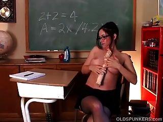 Naughty Milf Teacher In Lingerie Fucks Her Soaking Wet Pussy