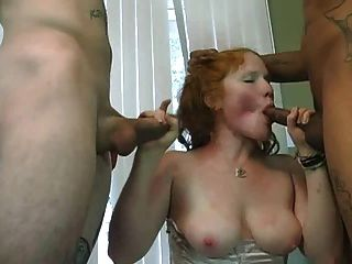 Pale Redhead Daisy Enjoys A Pair Of Dicks