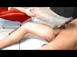 Grey Pantyhose + Feetjob = Shoe Cumshot