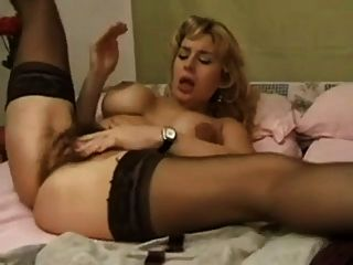 Very Hairy Milf Fisting Her Ass