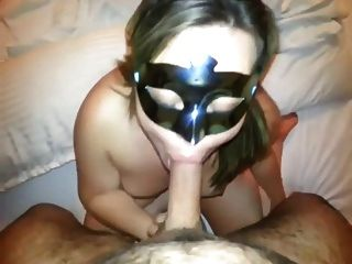 Sucking Masked Receives Sperm On Her Mask Whore