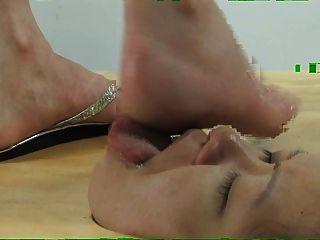 face in floor foot worship